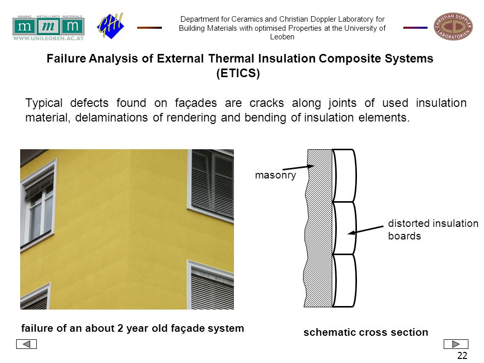 Department for Ceramics and Christian Doppler Laboratory for Building Materials with optimised Properties at the University of Leoben 22 Typical defects found on façades are cracks along joints of used insulation material, delaminations of rendering and bending of insulation elements.