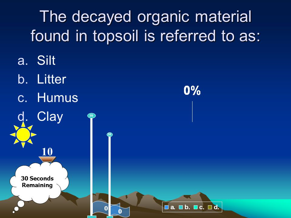 The decayed organic material found in topsoil is referred to as: a.Silt b.Litter c.Humus d.Clay 0 30 10 0 30 30 Seconds Remaining