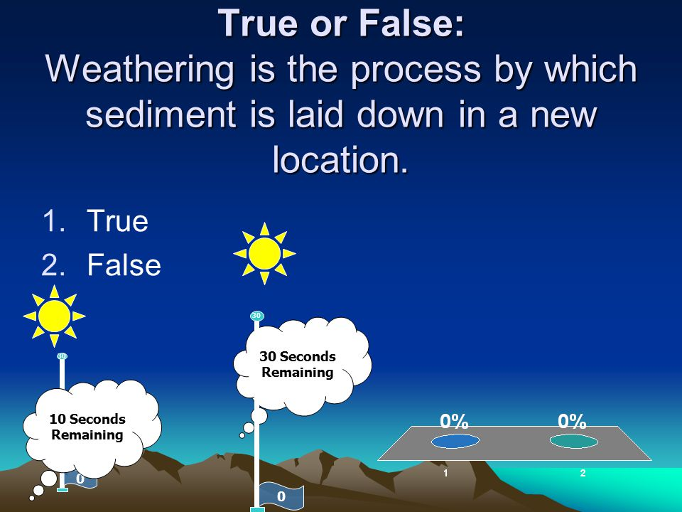True or False: Weathering is the process by which sediment is laid down in a new location. 1.True 2.False 30 Seconds Remaining 0 30 0 10 Seconds Remai