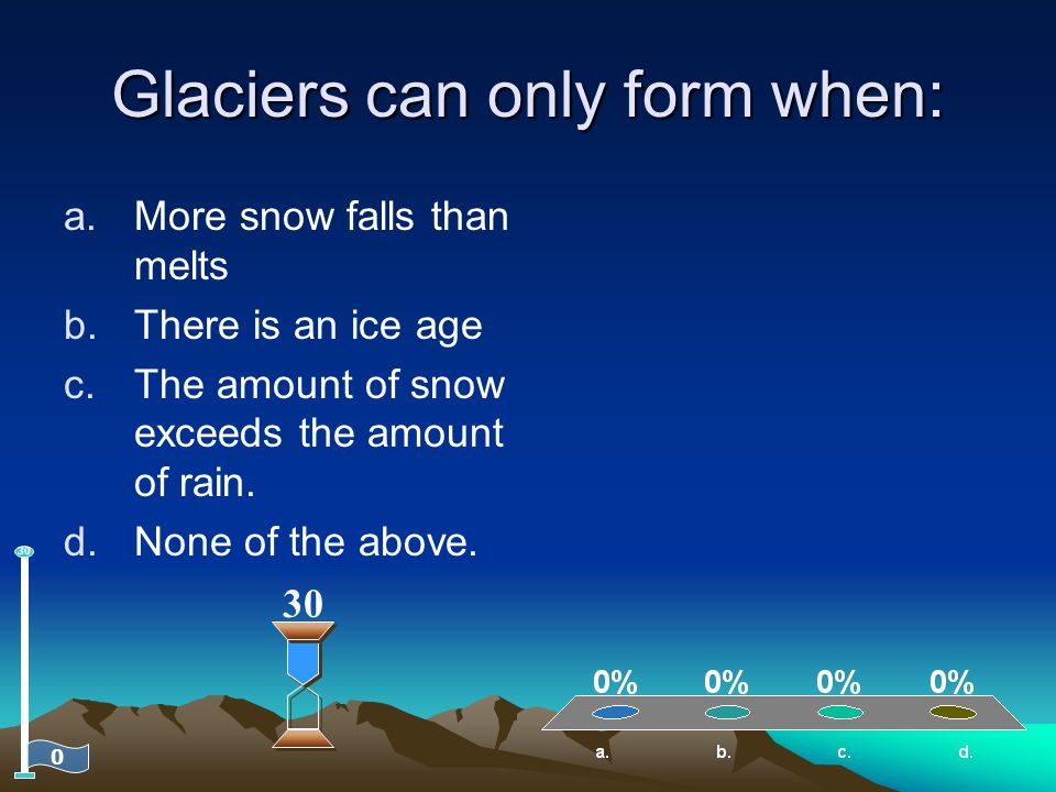 Glaciers can only form when: a.More snow falls than melts b.There is an ice age c.The amount of snow exceeds the amount of rain. d.None of the above.