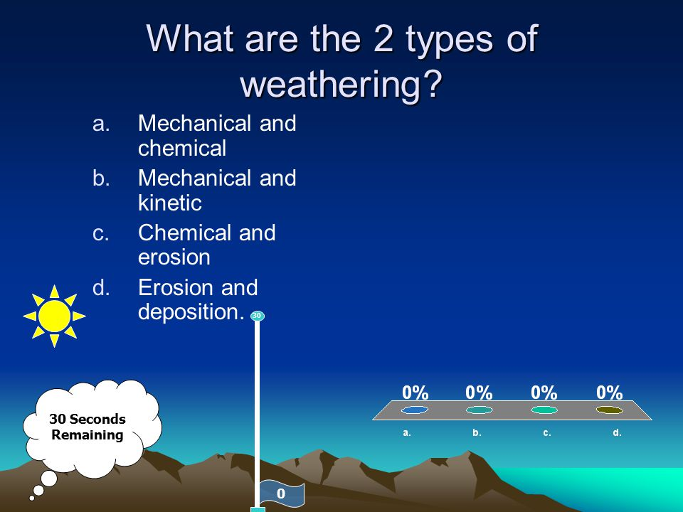 What are the 2 types of weathering? a.Mechanical and chemical b.Mechanical and kinetic c.Chemical and erosion d.Erosion and deposition. 30 Seconds Rem