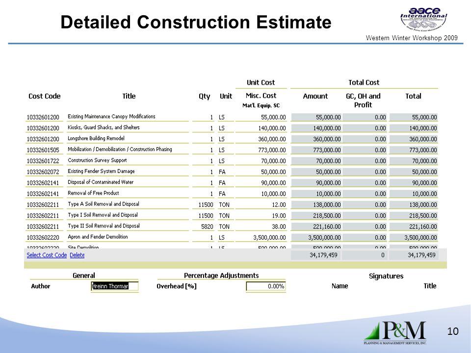 Western Winter Workshop 2009 10 Detailed Construction Estimate