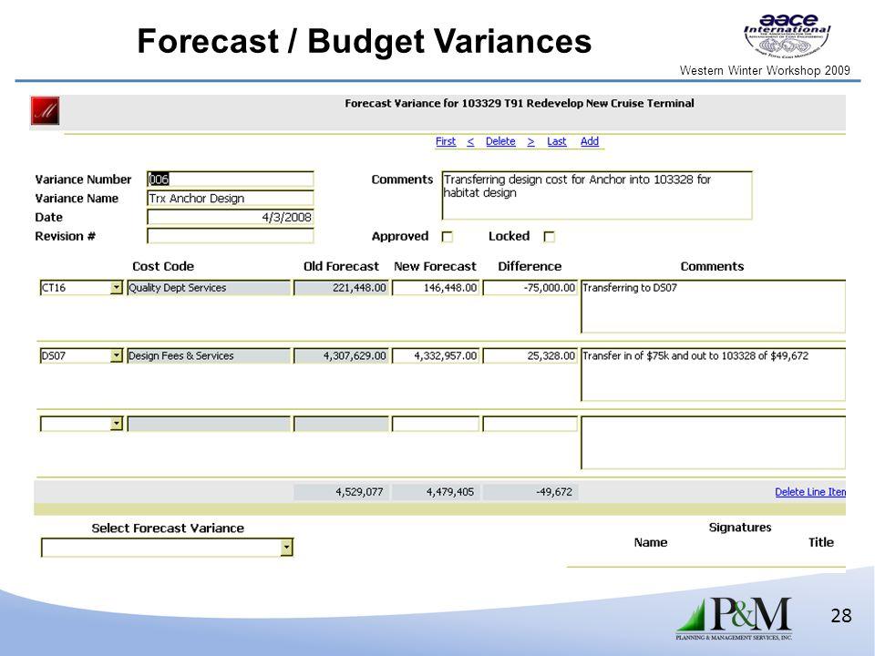 Western Winter Workshop 2009 28 Forecast / Budget Variances