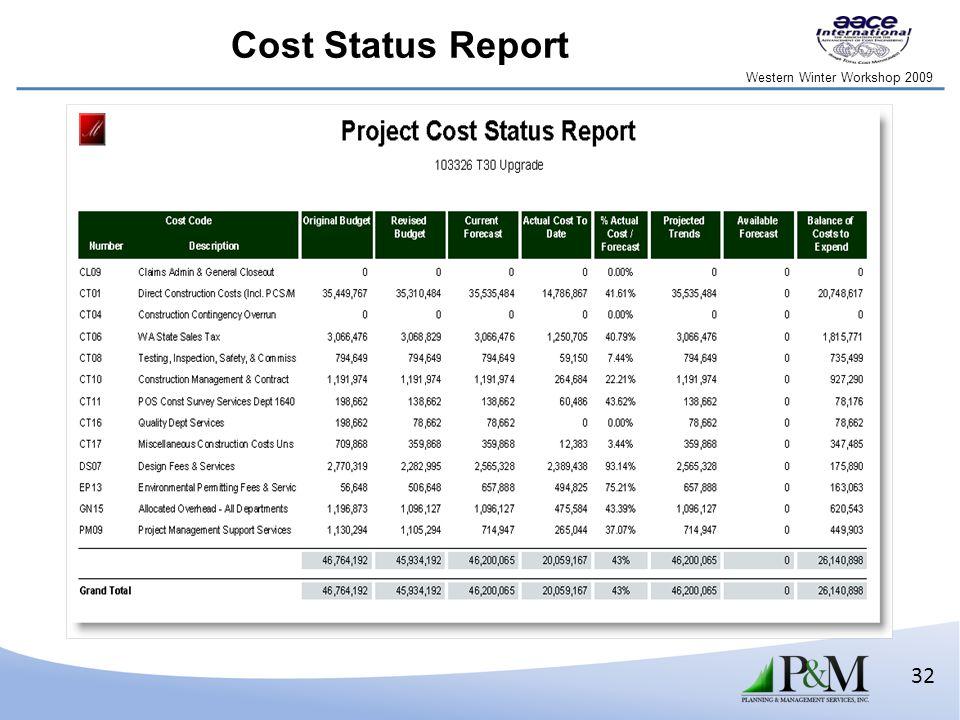 Western Winter Workshop 2009 32 Cost Status Report