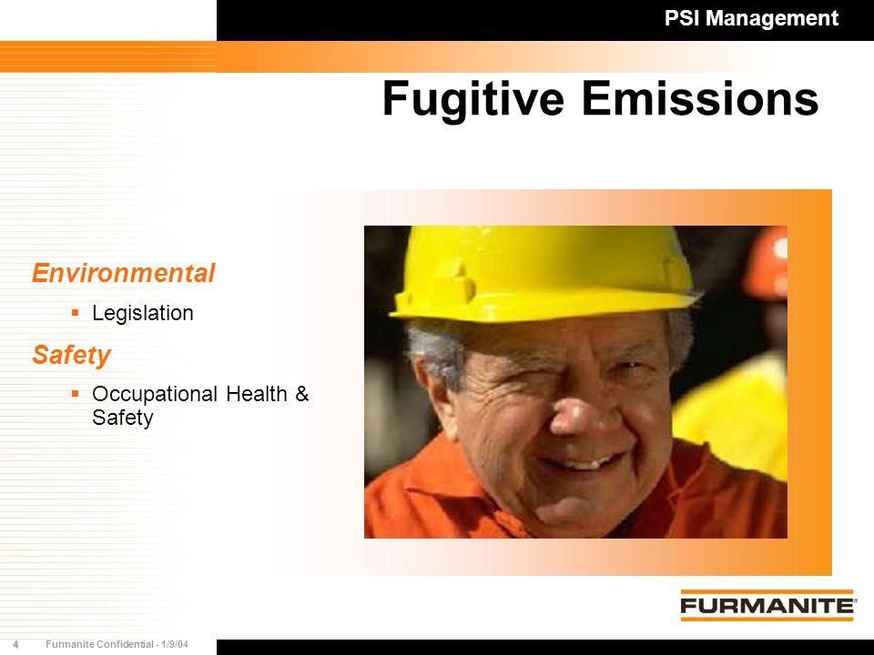 4Furmanite Confidential - 1/9/04 Fugitive Emissions PSI Management Environmental  Legislation Safety  Occupational Health & Safety