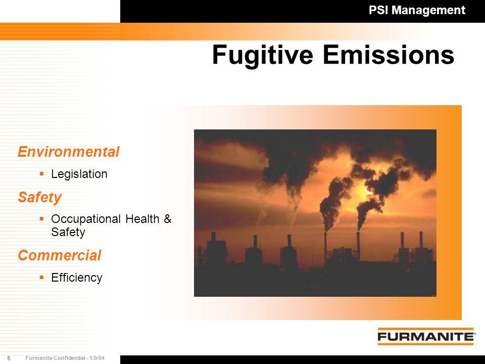 5Furmanite Confidential - 1/9/04 Fugitive Emissions PSI Management Environmental  Legislation Safety  Occupational Health & Safety Commercial  Efficiency