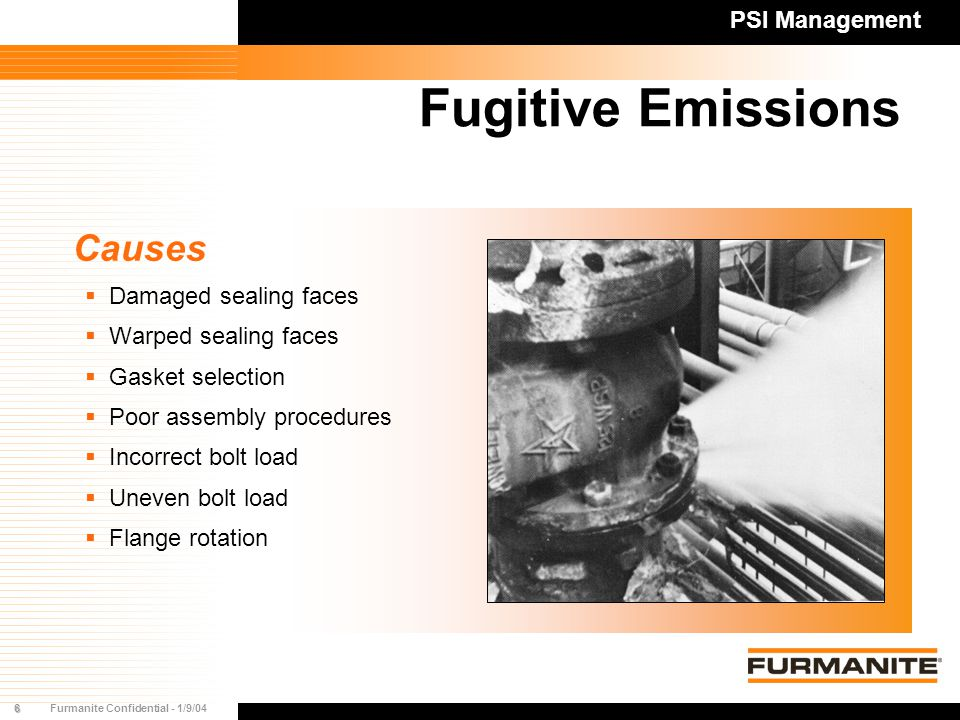 7Furmanite Confidential - 1/9/04 Fugitive Emissions Costs  Loss of product  Process inefficiency  Cost of leak repair  Environmental fines  Image PSI Management