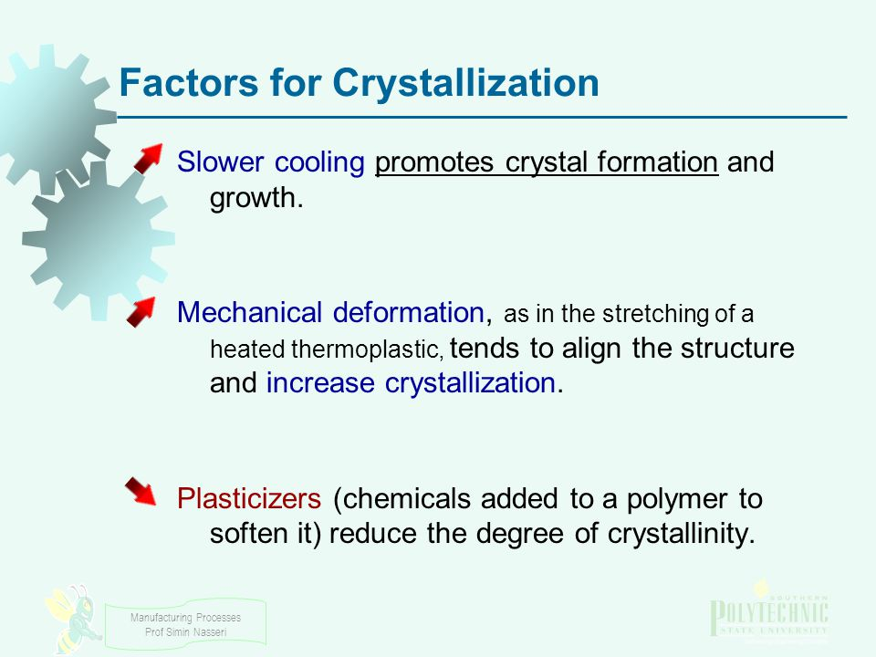 Manufacturing Processes Prof Simin Nasseri Factors for Crystallization Slower cooling promotes crystal formation and growth.