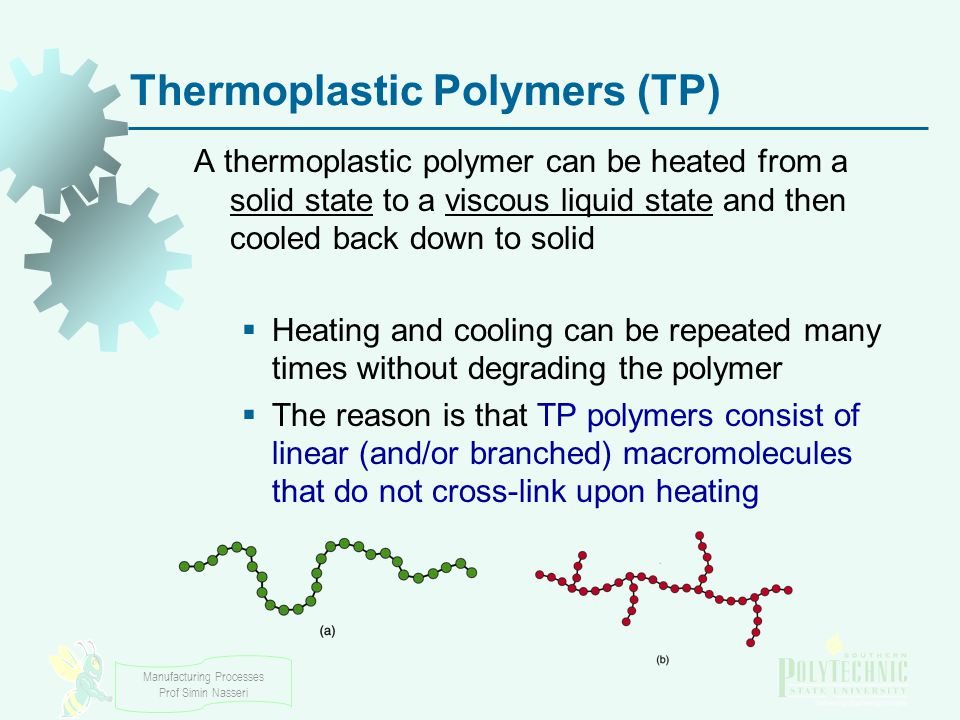 Manufacturing Processes Prof Simin Nasseri Thermoplastic Polymers (TP) A thermoplastic polymer can be heated from a solid state to a viscous liquid state and then cooled back down to solid  Heating and cooling can be repeated many times without degrading the polymer  The reason is that TP polymers consist of linear (and/or branched) macromolecules that do not cross ‑ link upon heating