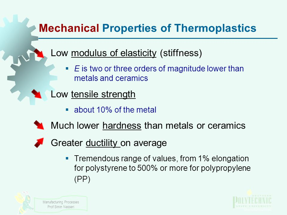 Manufacturing Processes Prof Simin Nasseri Mechanical Properties of Thermoplastics Low modulus of elasticity (stiffness)  E is two or three orders of magnitude lower than metals and ceramics Low tensile strength  about 10% of the metal Much lower hardness than metals or ceramics Greater ductility on average  Tremendous range of values, from 1% elongation for polystyrene to 500% or more for polypropylene (PP)