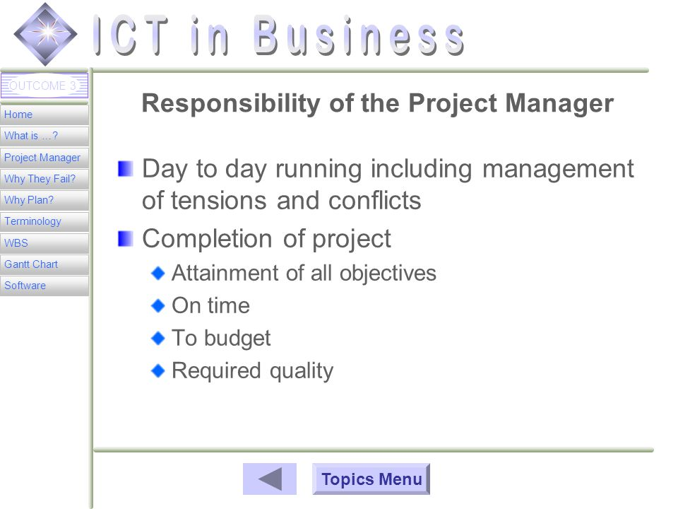 Home What is …. Project Manager Why They Fail. Why Plan.