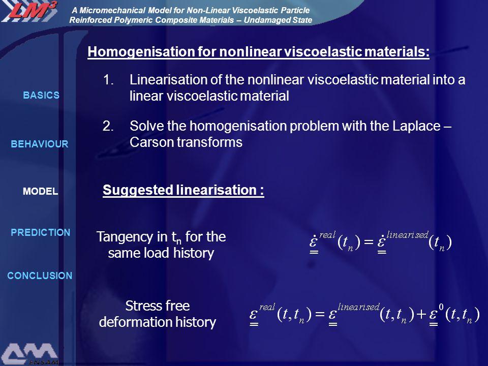 Homogenisation for nonlinear viscoelastic materials: Linearisation of the nonlinear viscoelastic material into a linear viscoelastic material 1.