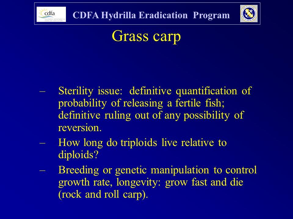 CDFA Hydrilla Eradication Program Grass carp –Sterility issue: definitive quantification of probability of releasing a fertile fish; definitive ruling