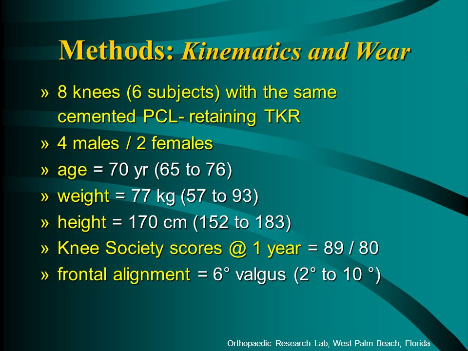 Orthopaedic Research Lab, West Palm Beach, Florida »8 knees (6 subjects) with the same cemented PCL- retaining TKR »4 males / 2 females »age = 70 yr (65 to 76) »weight = 77 kg (57 to 93) »height = 170 cm (152 to 183) »Knee Society scores @ 1 year = 89 / 80 »frontal alignment = 6° valgus (2° to 10 °) Methods: Kinematics and Wear