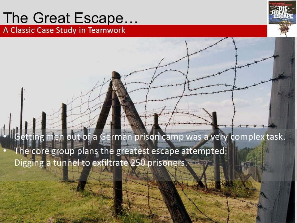 Lessons from The Great Escape… LESSON: 4 Committed and Consistent There are no Halfhearted Champions Always remember: Ordinary people with commitment can create an extraordinary team.