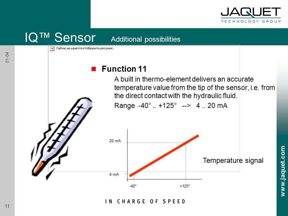 www.jaquet.com 11 01-04 n Function 11 A built in thermo-element delivers an accurate temperature value from the tip of the sensor, i.e.