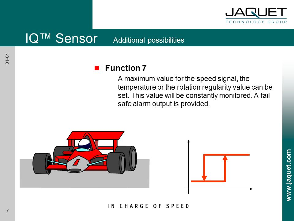 www.jaquet.com 7 01-04 IQ™ Sensor Additional possibilities n Function 7 A maximum value for the speed signal, the temperature or the rotation regularity value can be set.