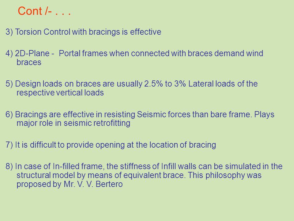 Cont /-... 3) Torsion Control with bracings is effective 4) 2D-Plane - Portal frames when connected with braces demand wind braces 5) Design loads on