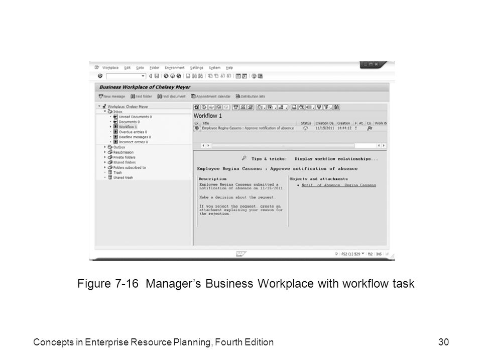 Concepts in Enterprise Resource Planning, Fourth Edition30 Figure 7-16 Manager's Business Workplace with workflow task