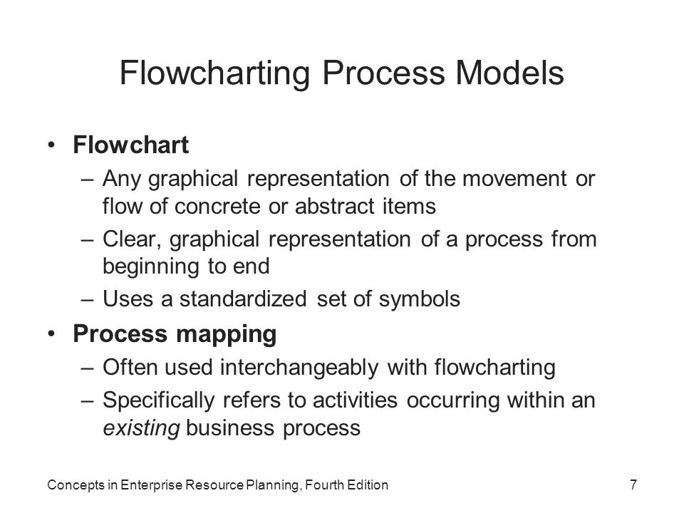 Concepts in Enterprise Resource Planning, Fourth Edition7 Flowcharting Process Models Flowchart –Any graphical representation of the movement or flow of concrete or abstract items –Clear, graphical representation of a process from beginning to end –Uses a standardized set of symbols Process mapping –Often used interchangeably with flowcharting –Specifically refers to activities occurring within an existing business process
