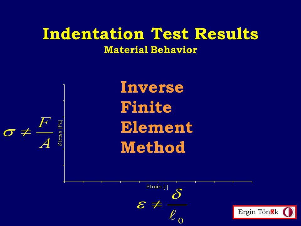 Indentation Test Results Material Behavior Inverse Finite Element Method
