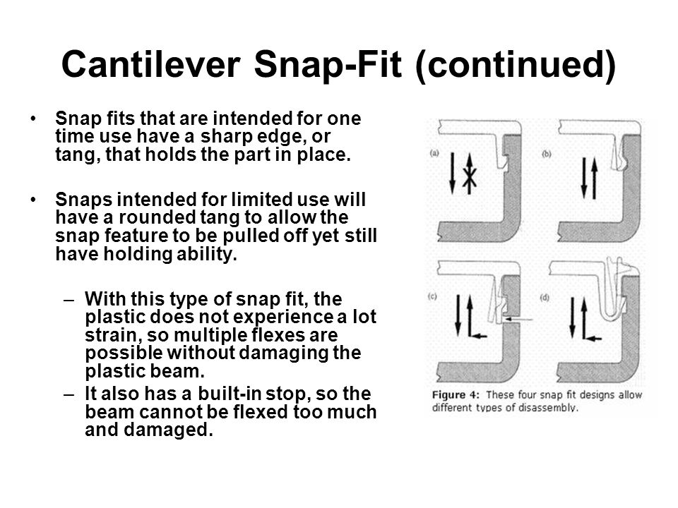 Cantilever Snap-Fit (continued) Snap fits that are intended for one time use have a sharp edge, or tang, that holds the part in place.