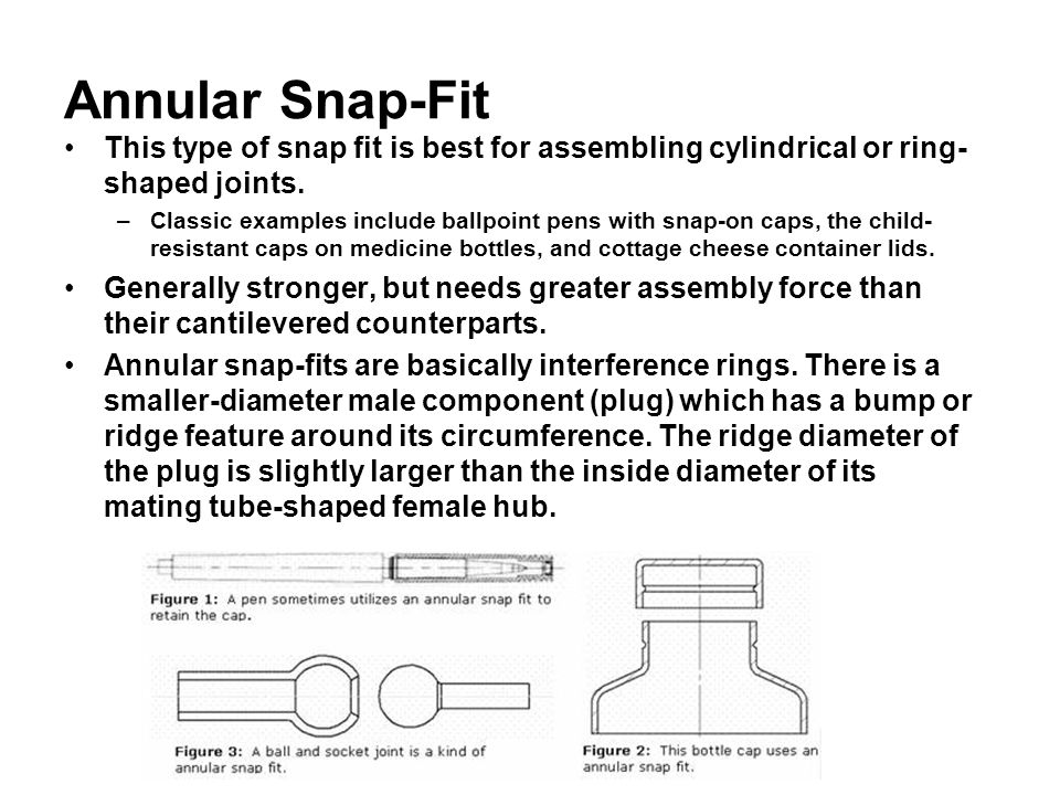 Annular Snap-Fit This type of snap fit is best for assembling cylindrical or ring- shaped joints.