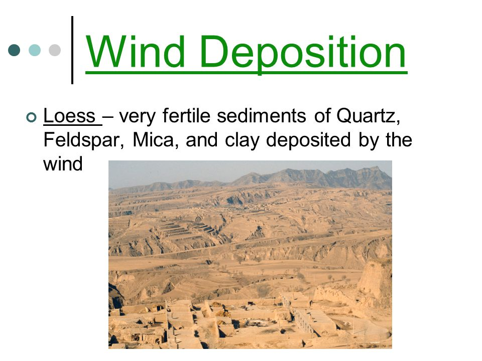 Wind Deposition Loess – very fertile sediments of Quartz, Feldspar, Mica, and clay deposited by the wind