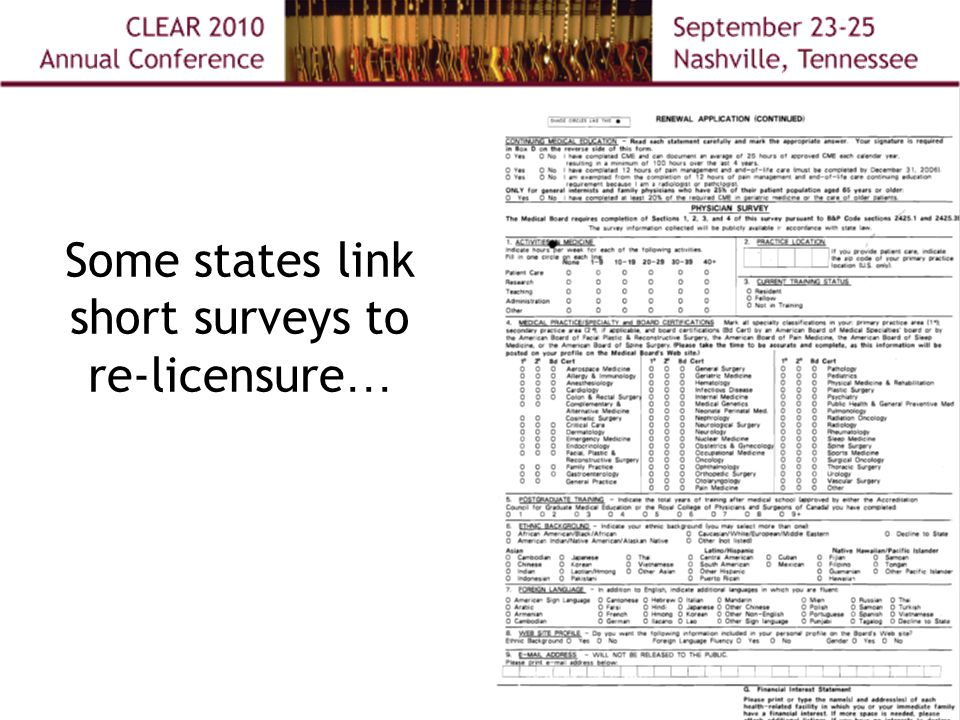 Some states link short surveys to re-licensure …