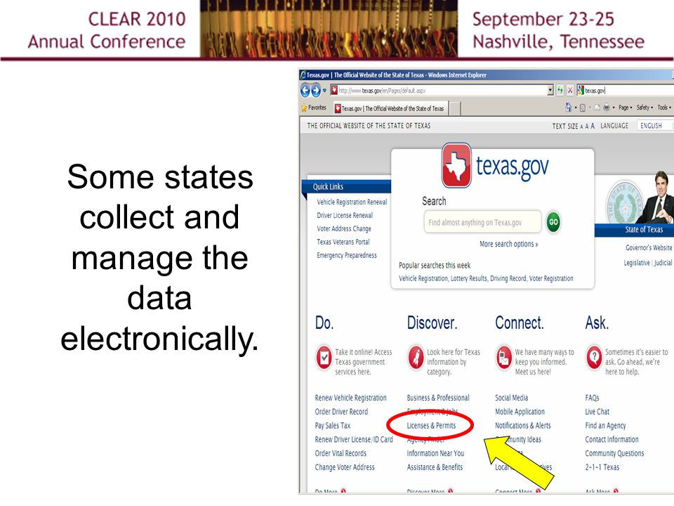 Some states collect and manage the data electronically.