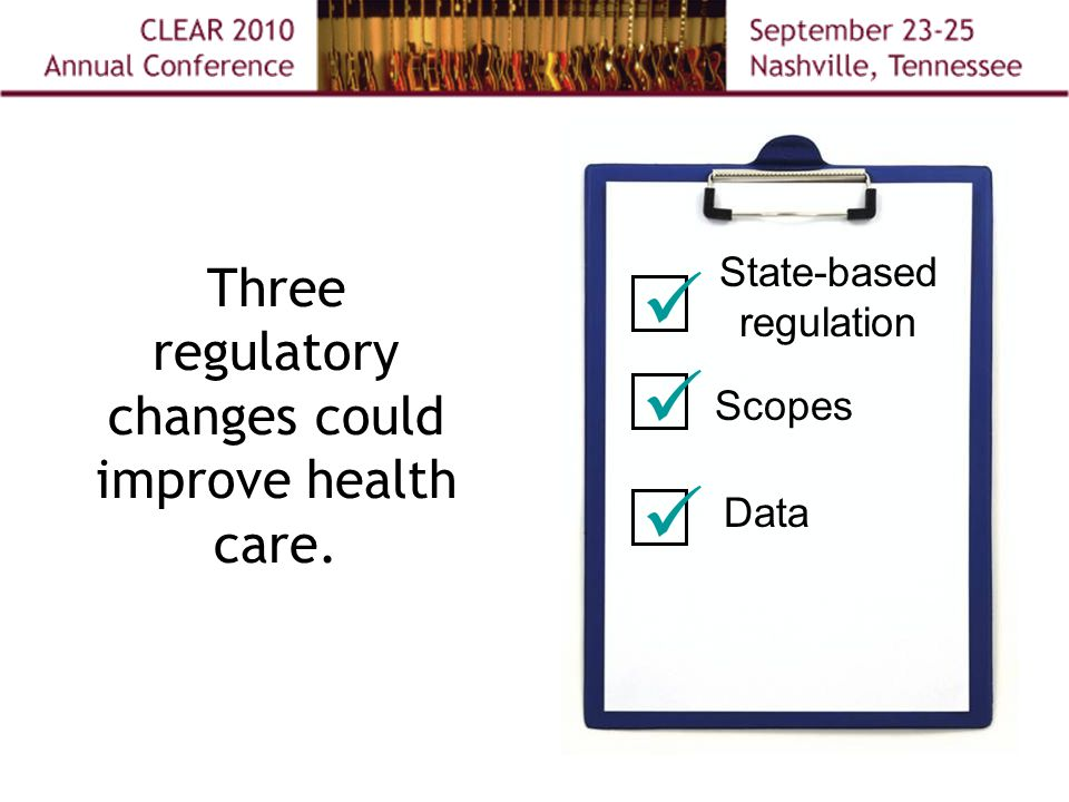 Three regulatory changes could improve health care. State-based regulation Scopes Data