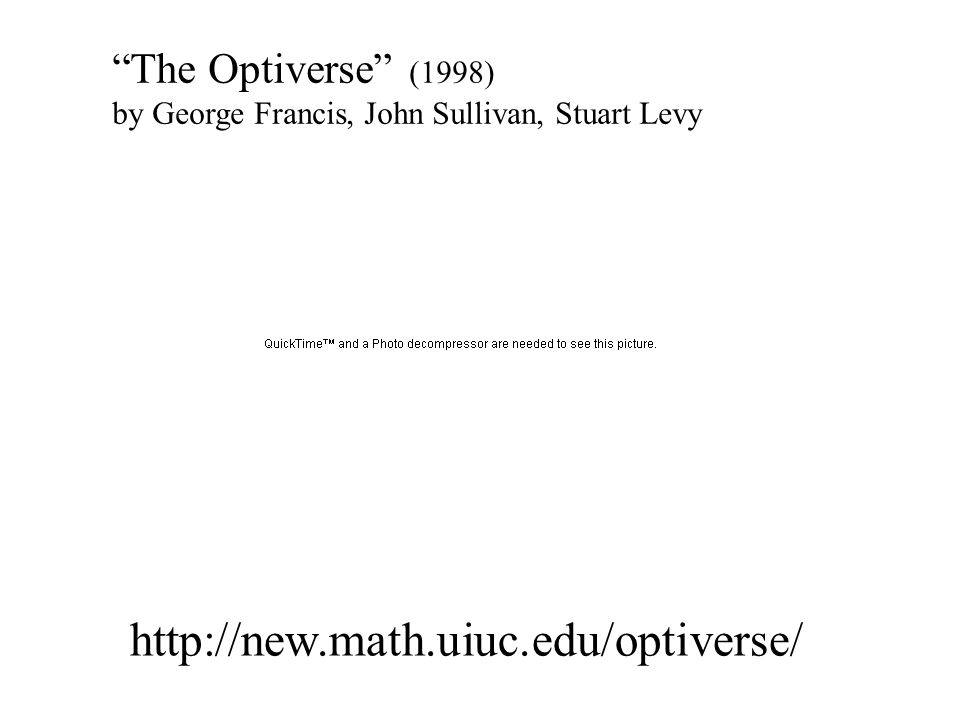 http://new.math.uiuc.edu/optiverse/ The Optiverse (1998) by George Francis, John Sullivan, Stuart Levy
