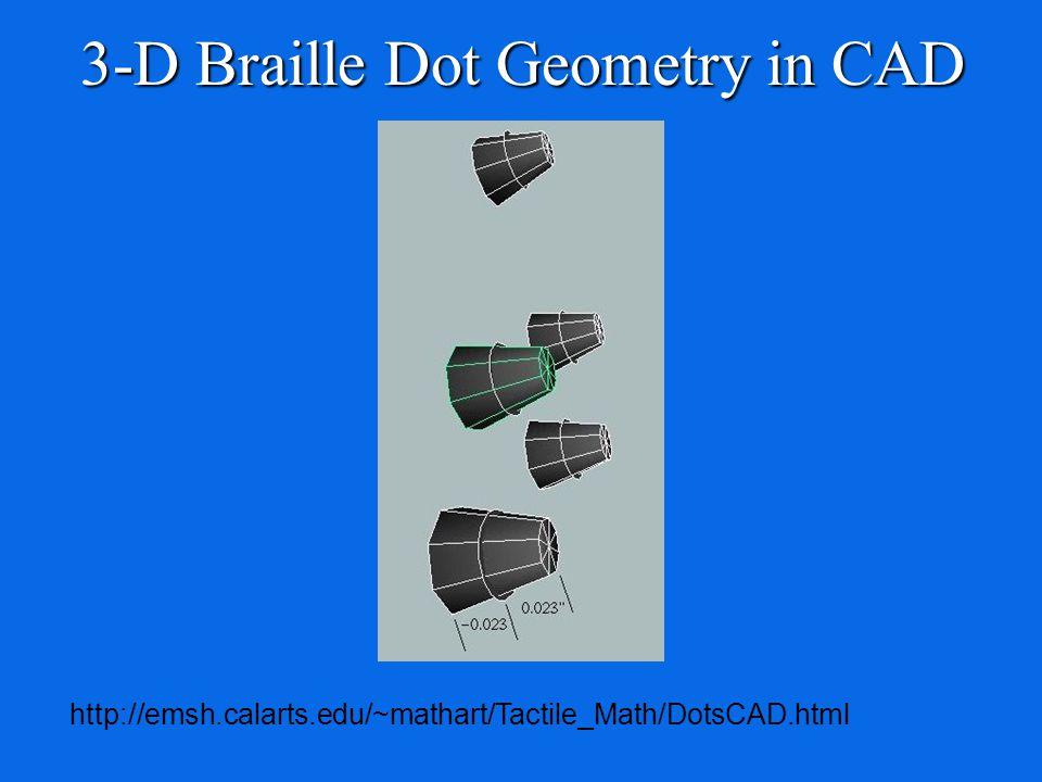 3-D Braille Dot Geometry in CAD http://emsh.calarts.edu/~mathart/Tactile_Math/DotsCAD.html