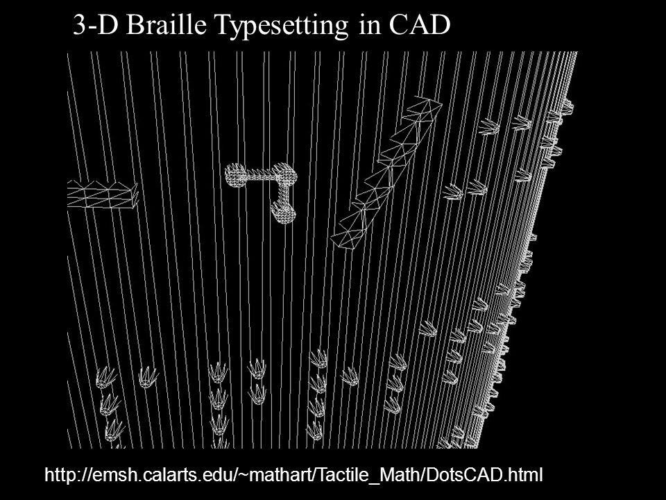http://emsh.calarts.edu/~mathart/Tactile_Math/DotsCAD.html 3-D Braille Typesetting in CAD