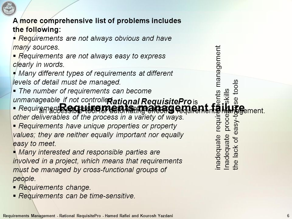 Requirements Management - Rational RequisitePro - Hamed Rafiei and Kourosh Yazdani6 A more comprehensive list of problems includes the following:  Re