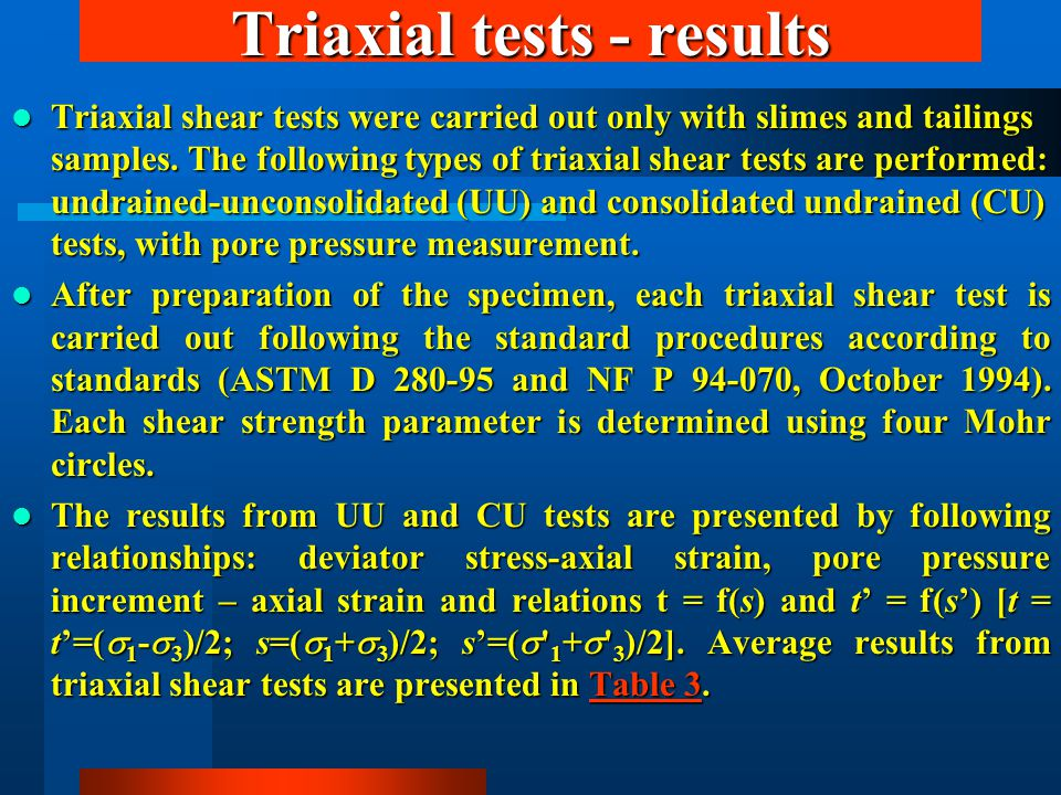 Triaxial tests - results Triaxial shear tests were carried out only with slimes and tailings samples. The following types of triaxial shear tests are