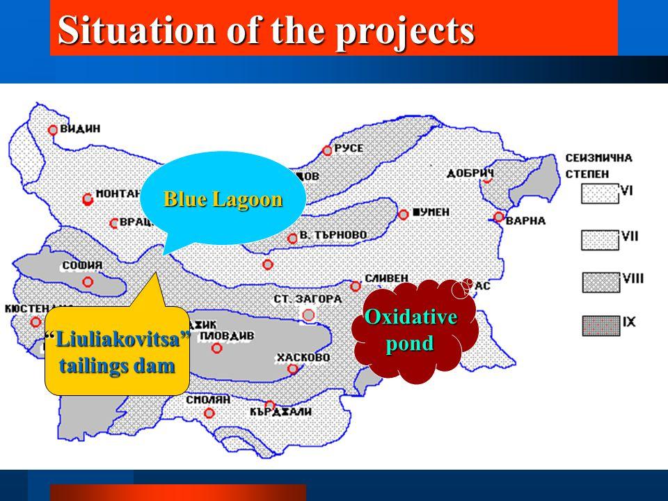 Situation of the projects Liuliakovitsa tailings dam Blue Lagoon Oxidativepond