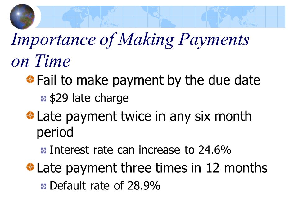 Importance of Making Payments on Time Fail to make payment by the due date $29 late charge Late payment twice in any six month period Interest rate can increase to 24.6% Late payment three times in 12 months Default rate of 28.9%