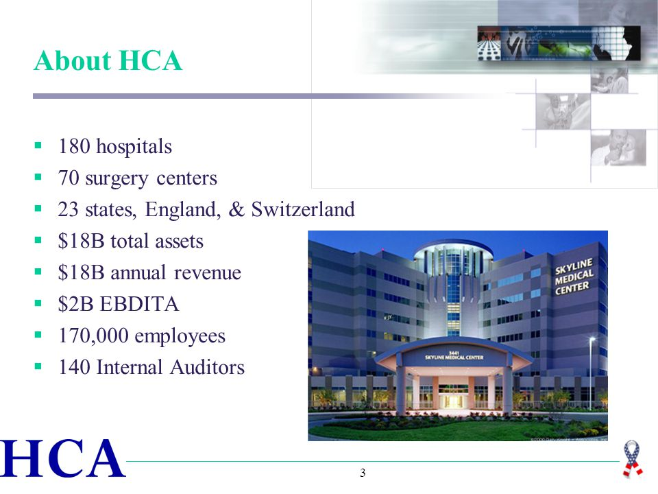 3 About HCA  180 hospitals  70 surgery centers  23 states, England, & Switzerland  $18B total assets  $18B annual revenue  $2B EBDITA  170,000 employees  140 Internal Auditors