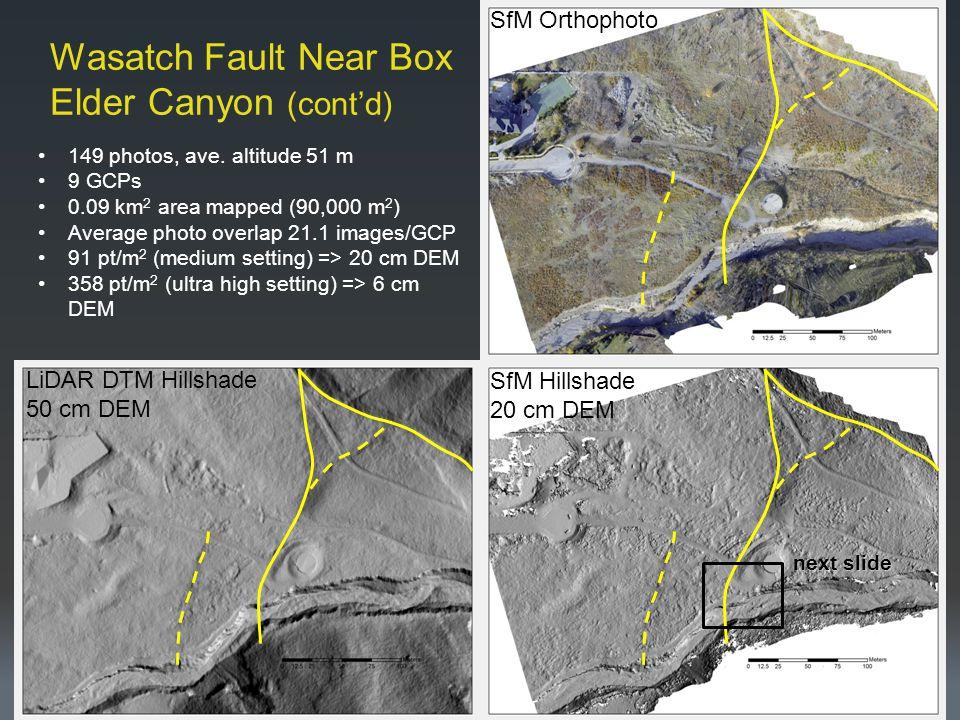 Wasatch Fault Near Box Elder Canyon (cont'd) SfM Orthophoto SfM Hillshade 20 cm DEM LiDAR DTM Hillshade 50 cm DEM 149 photos, ave.