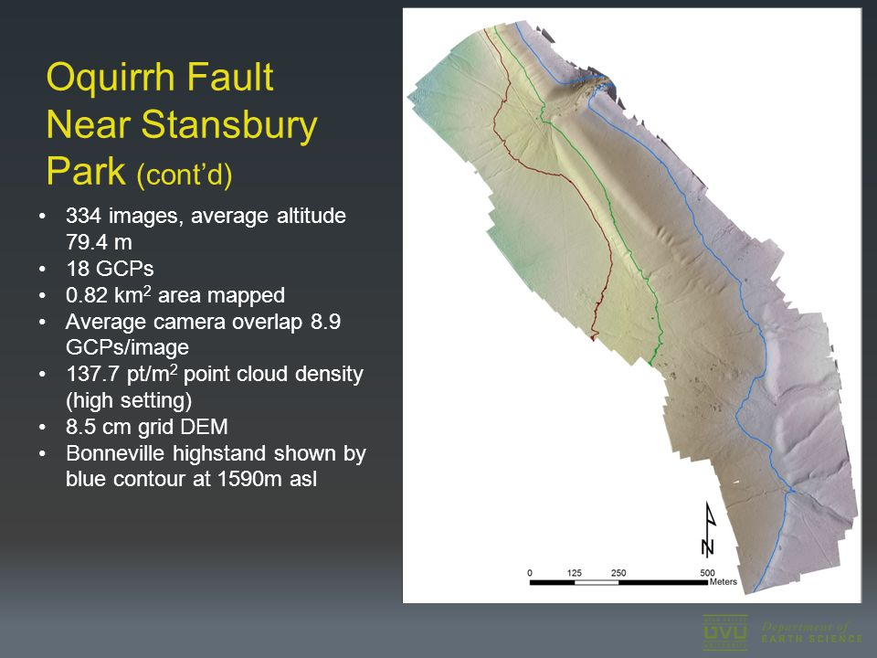 Oquirrh Fault Near Stansbury Park (cont'd) 334 images, average altitude 79.4 m 18 GCPs 0.82 km 2 area mapped Average camera overlap 8.9 GCPs/image 137.7 pt/m 2 point cloud density (high setting) 8.5 cm grid DEM Bonneville highstand shown by blue contour at 1590m asl