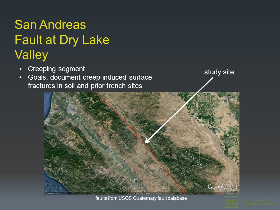 San Andreas Fault at Dry Lake Valley Creeping segment Goals: document creep-induced surface fractures in soil and prior trench sites study site faults