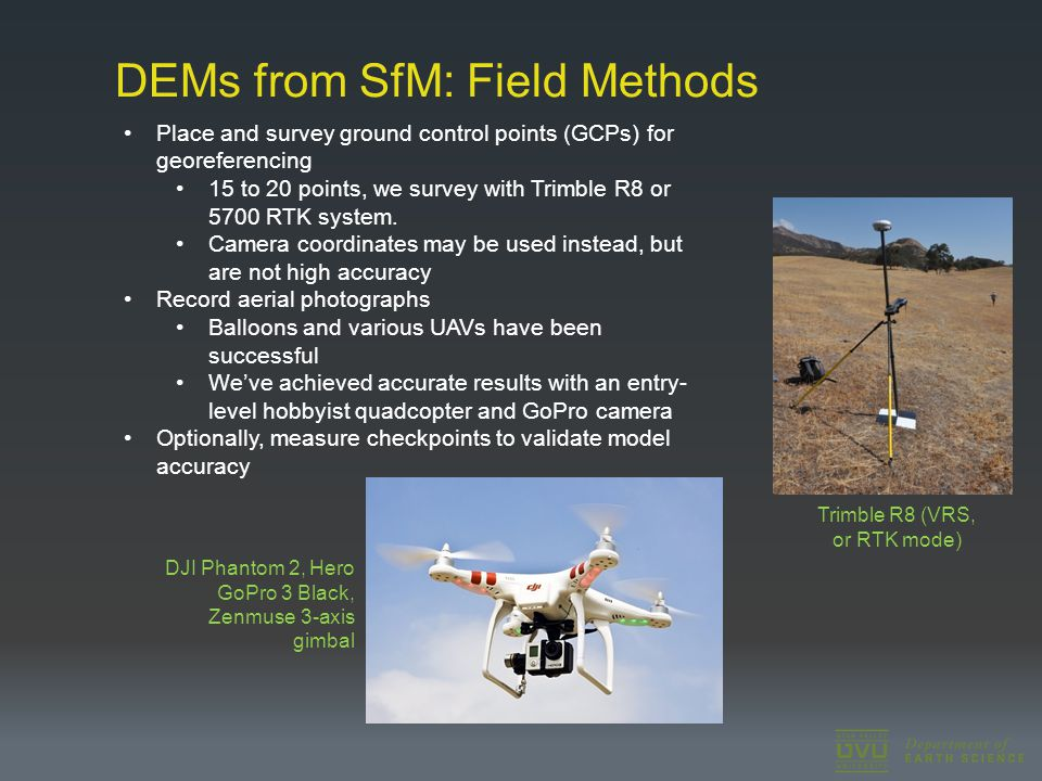 DEMs from SfM: Field Methods Place and survey ground control points (GCPs) for georeferencing 15 to 20 points, we survey with Trimble R8 or 5700 RTK s