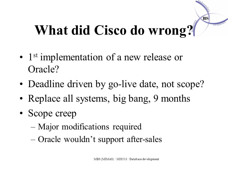 MBS (MIMAS) / MIS533 / Database development What did Cisco do wrong.