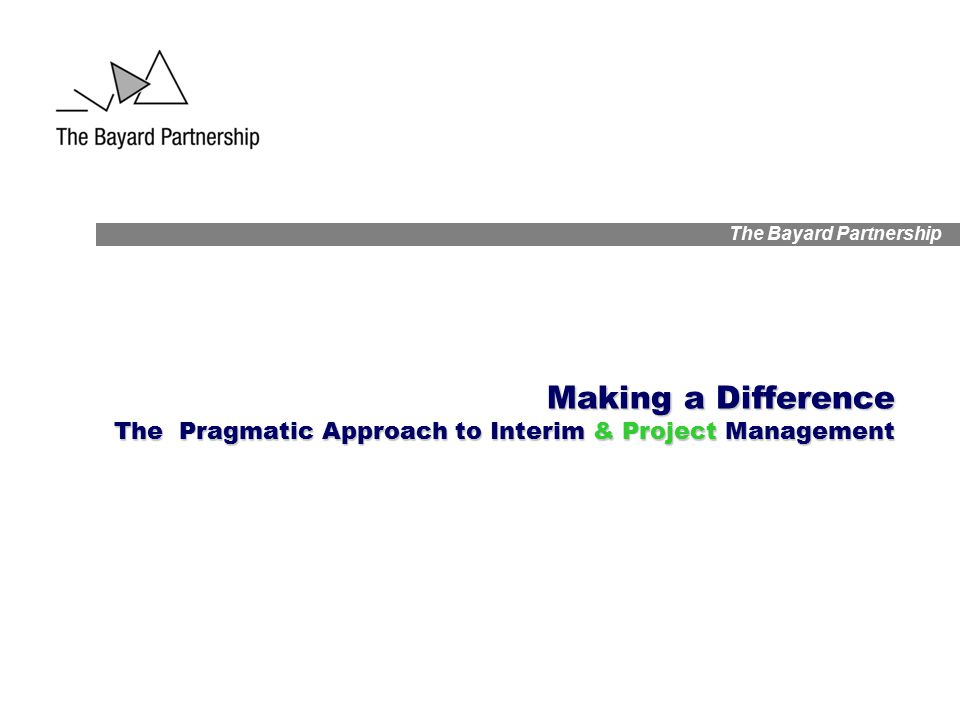 The Bayard Partnership Making a Difference The Pragmatic Approach to Interim & Project Management