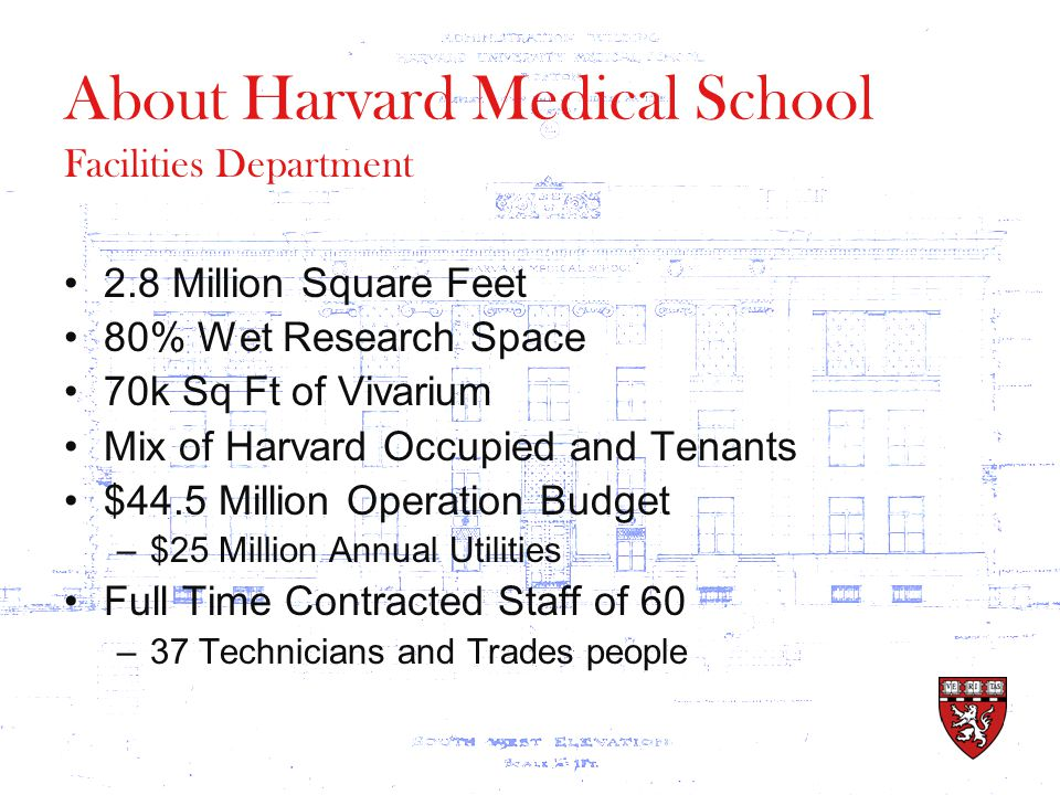 About Harvard Medical School 2.8 Million Square Feet 80% Wet Research Space 70k Sq Ft of Vivarium Mix of Harvard Occupied and Tenants $44.5 Million Operation Budget –$25 Million Annual Utilities Full Time Contracted Staff of 60 –37 Technicians and Trades people Facilities Department