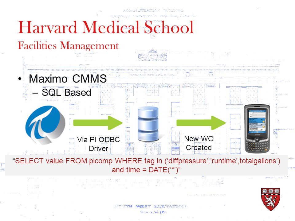 Harvard Medical School Facilities Management Maximo CMMS –SQL Based Via PI ODBC Driver SELECT value FROM picomp WHERE tag in ('diffpressure','runtime',totalgallons') and time = DATE('*') New WO Created