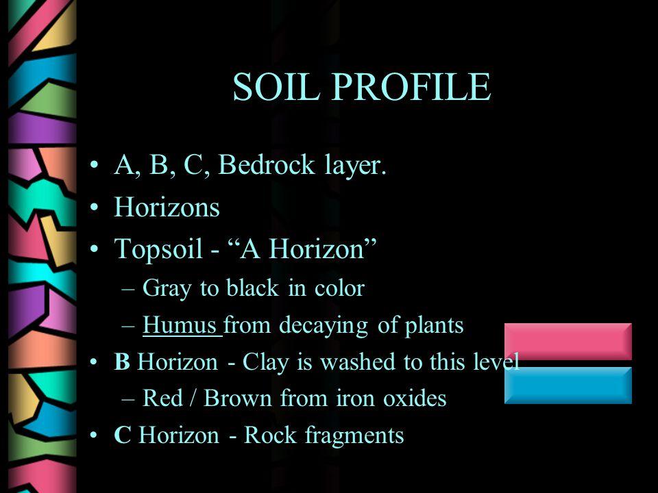 SOIL PROFILE A, B, C, Bedrock layer.