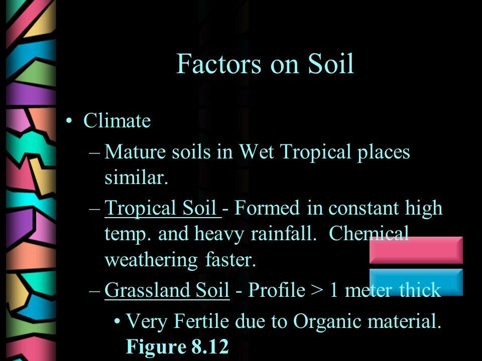 Factors on Soil Climate –Mature soils in Wet Tropical places similar.