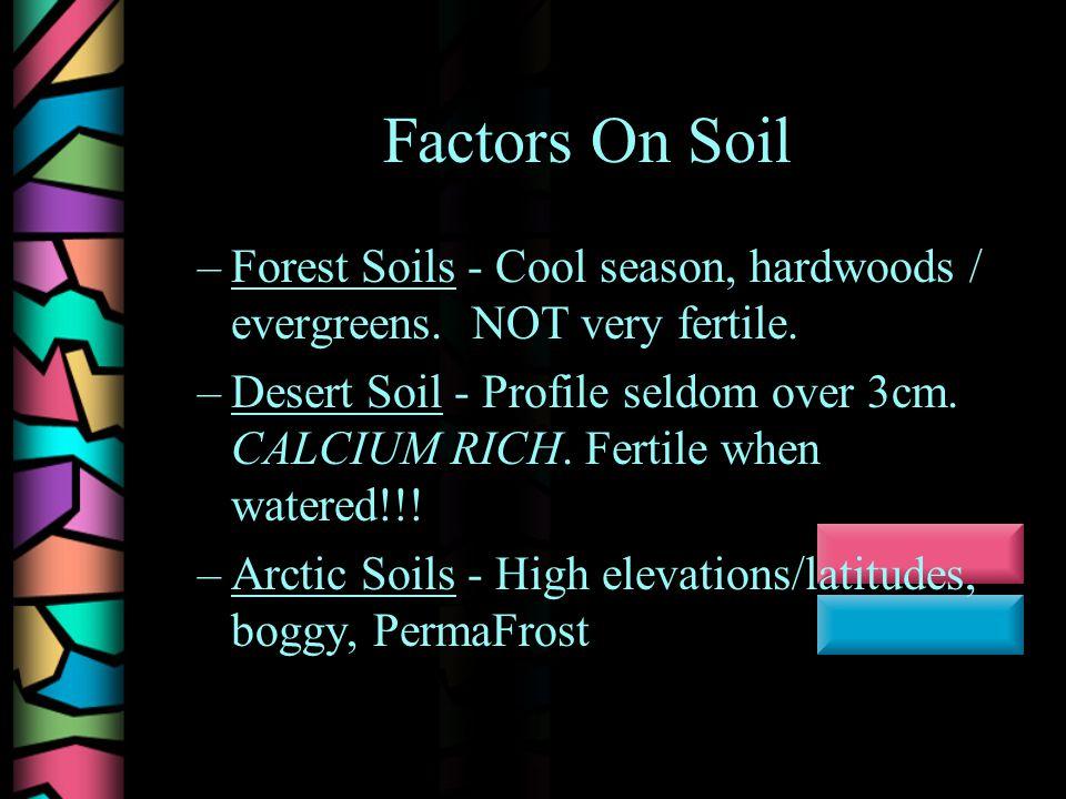 Factors On Soil –Forest Soils - Cool season, hardwoods / evergreens.